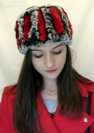 Genuine 2 Colour Rabbit Fur Headbands in Grey Red or Grey White